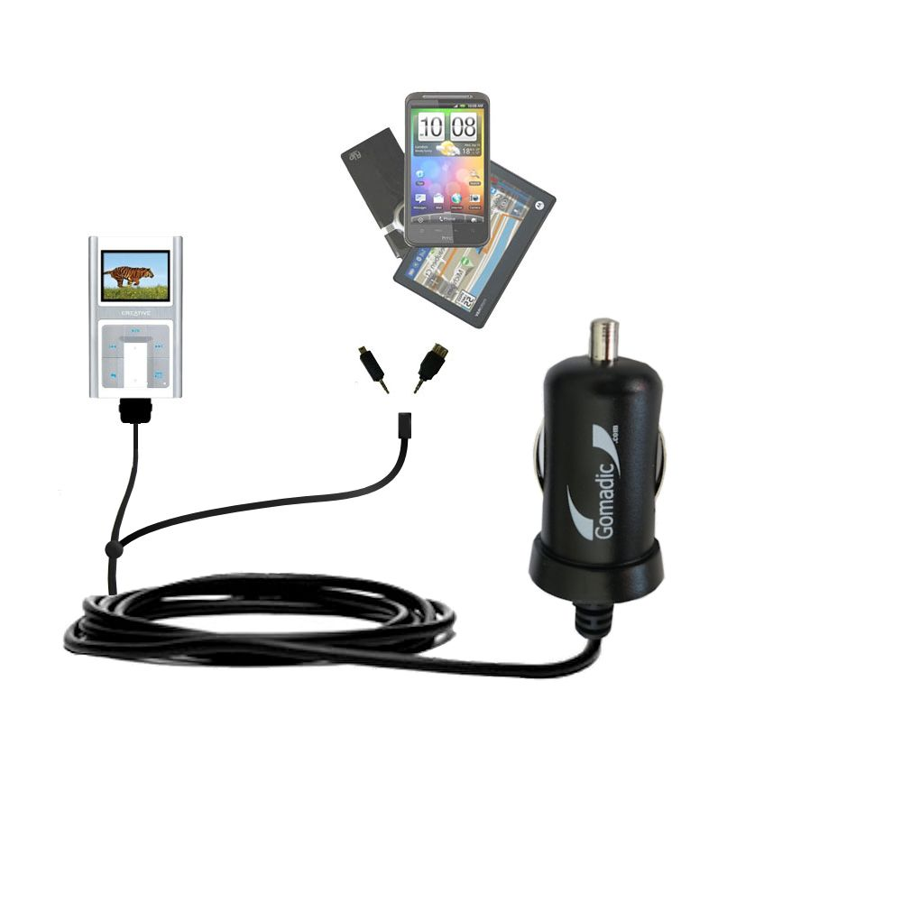 Double Port Micro Gomadic Car / Auto DC Charger suitable for the Creative Zen Sleek Photo - Charges up to 2 devices simultaneously with Gomadic TipExchange Technology