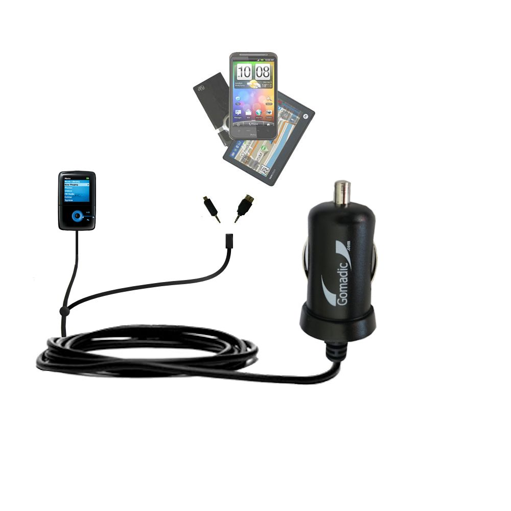 Double Port Micro Gomadic Car / Auto DC Charger suitable for the Creative Zen V Plus - Charges up to 2 devices simultaneously with Gomadic TipExchange Technology