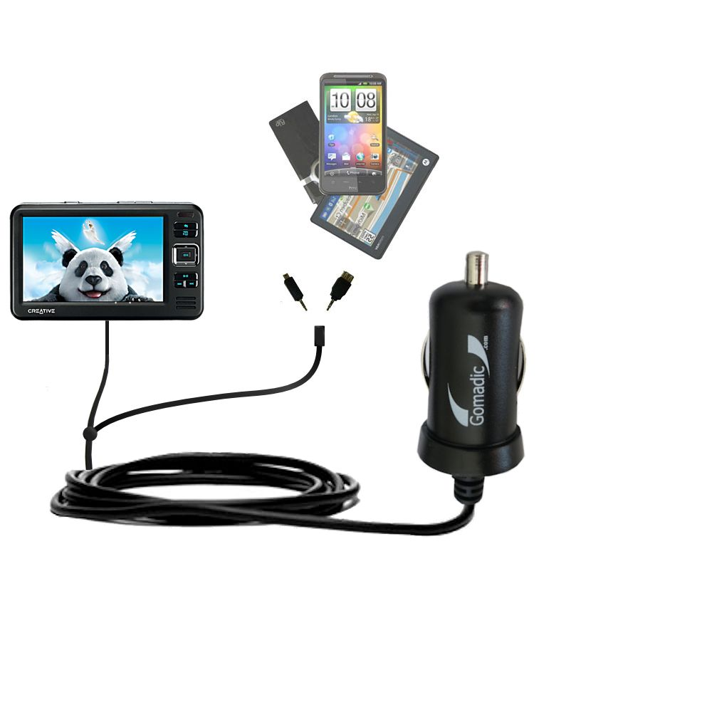 Double Port Micro Gomadic Car / Auto DC Charger suitable for the Creative Zen Vision W - Charges up to 2 devices simultaneously with Gomadic TipExchange Technology