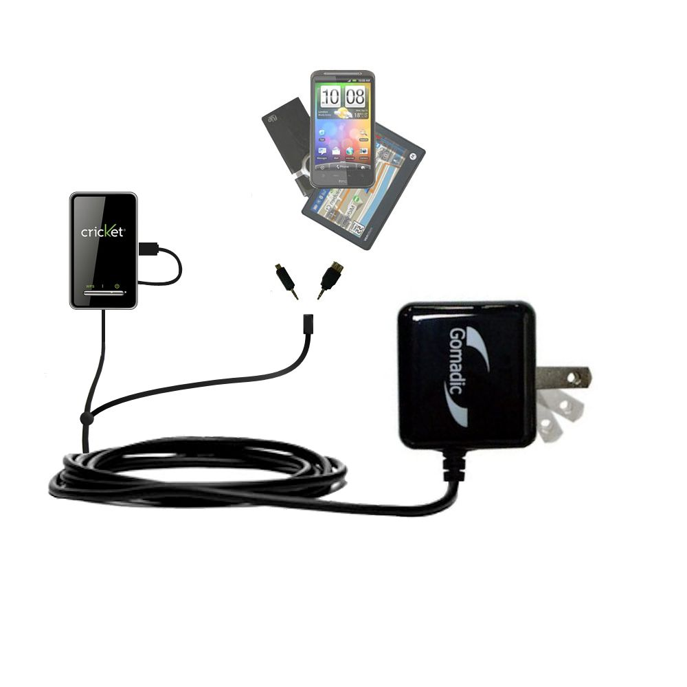 Gomadic Double Wall AC Home Charger suitable for the Cricket Crosswave WiFi Hotspot - Charge up to 2 devices at the same time with TipExchange Technology