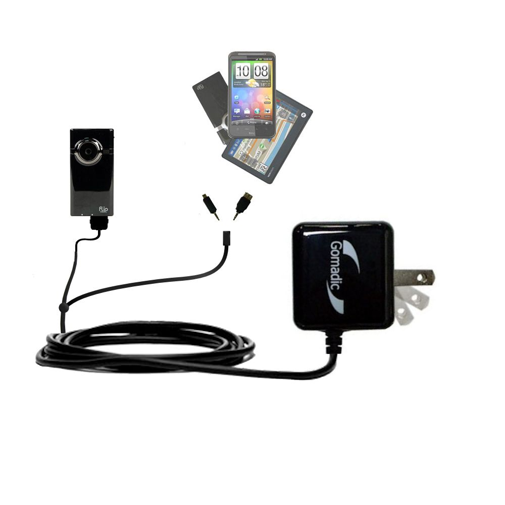 Double Wall Home Charger with tips including compatible with the Pure Digital Flip Video MinoHD