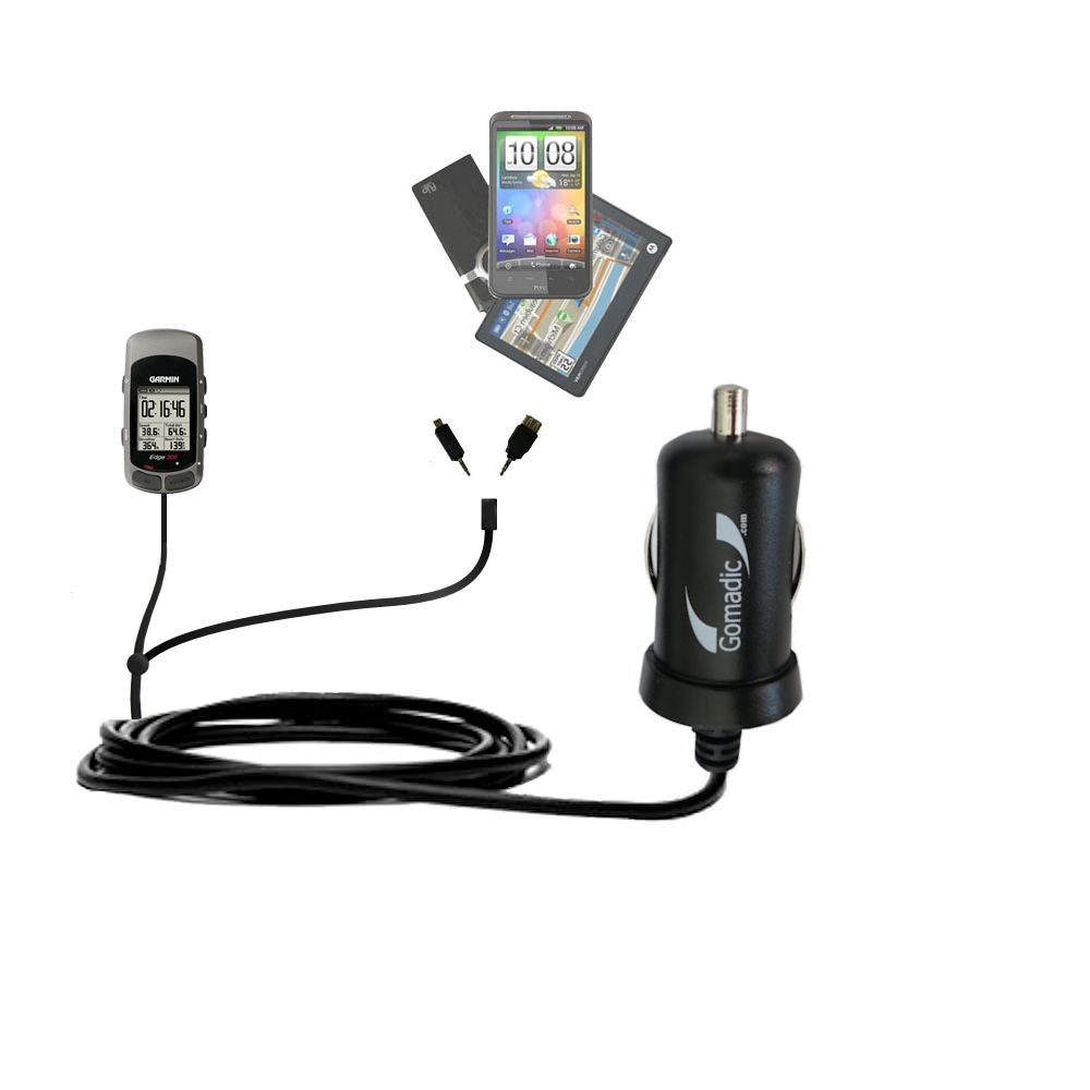 Double Port Micro Gomadic Car / Auto DC Charger suitable for the Garmin Edge 305 - Charges up to 2 devices simultaneously with Gomadic TipExchange Technology