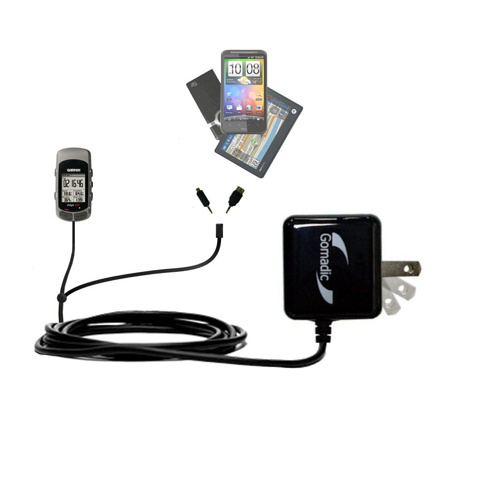Gomadic Double Wall AC Home Charger suitable for the Garmin Edge 305 - Charge up to 2 devices at the same time with TipExchange Technology