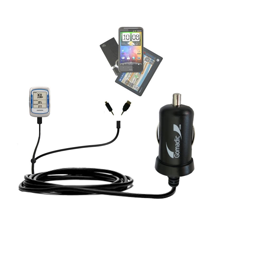 Double Port Micro Gomadic Car / Auto DC Charger suitable for the Garmin EDGE 500 - Charges up to 2 devices simultaneously with Gomadic TipExchange Technology