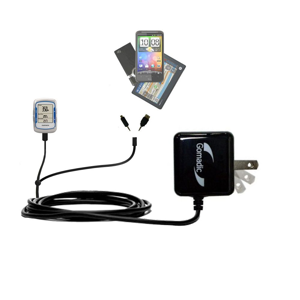 Gomadic Double Wall AC Home Charger suitable for the Garmin EDGE 500 - Charge up to 2 devices at the same time with TipExchange Technology