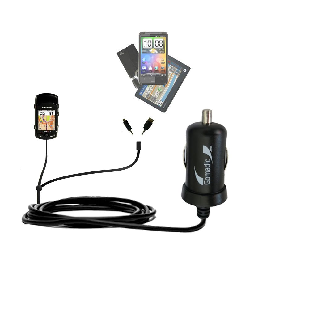 mini Double Car Charger with tips including compatible with the Garmin Edge 705
