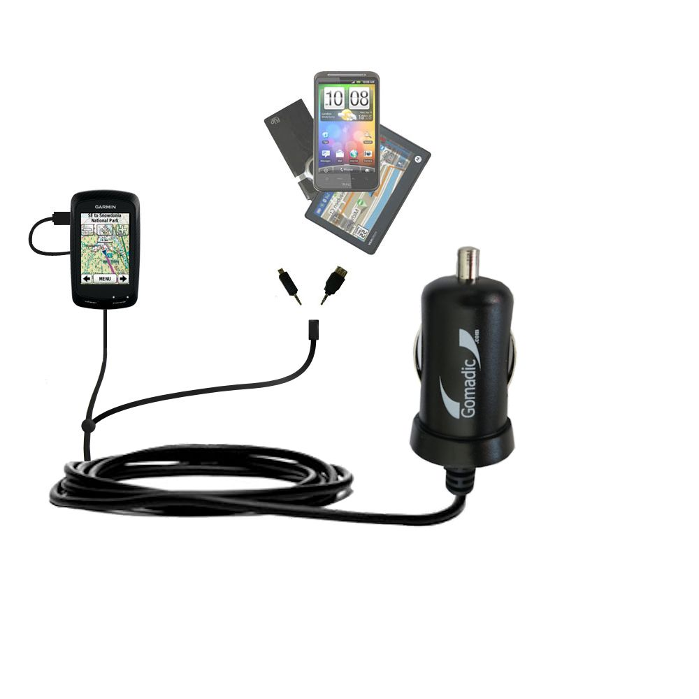 Double Port Micro Gomadic Car / Auto DC Charger suitable for the Garmin Edge 800 - Charges up to 2 devices simultaneously with Gomadic TipExchange Technology