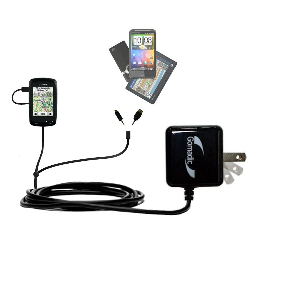 Gomadic Double Wall AC Home Charger suitable for the Garmin Edge 800 - Charge up to 2 devices at the same time with TipExchange Technology