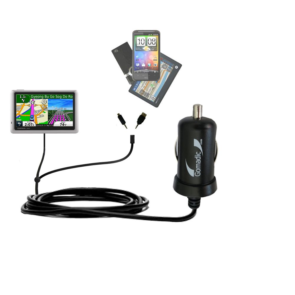 Double Port Micro Gomadic Car / Auto DC Charger suitable for the Garmin nuvi 1490LMT 1490T - Charges up to 2 devices simultaneously with Gomadic TipExchange Technology