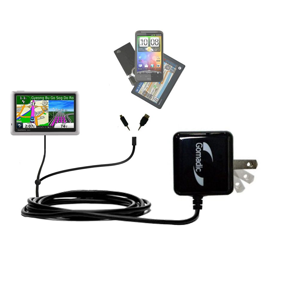 Gomadic Double Wall AC Home Charger suitable for the Garmin nuvi 1490LMT 1490T - Charge up to 2 devices at the same time with TipExchange Technology
