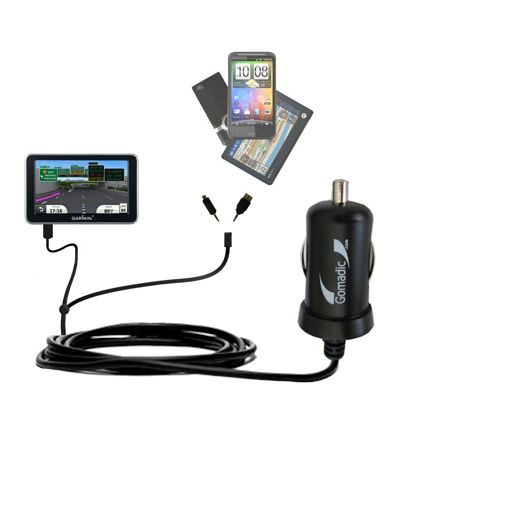 Double Port Micro Gomadic Car / Auto DC Charger suitable for the Garmin Nuvi 2350 - Charges up to 2 devices simultaneously with Gomadic TipExchange Technology