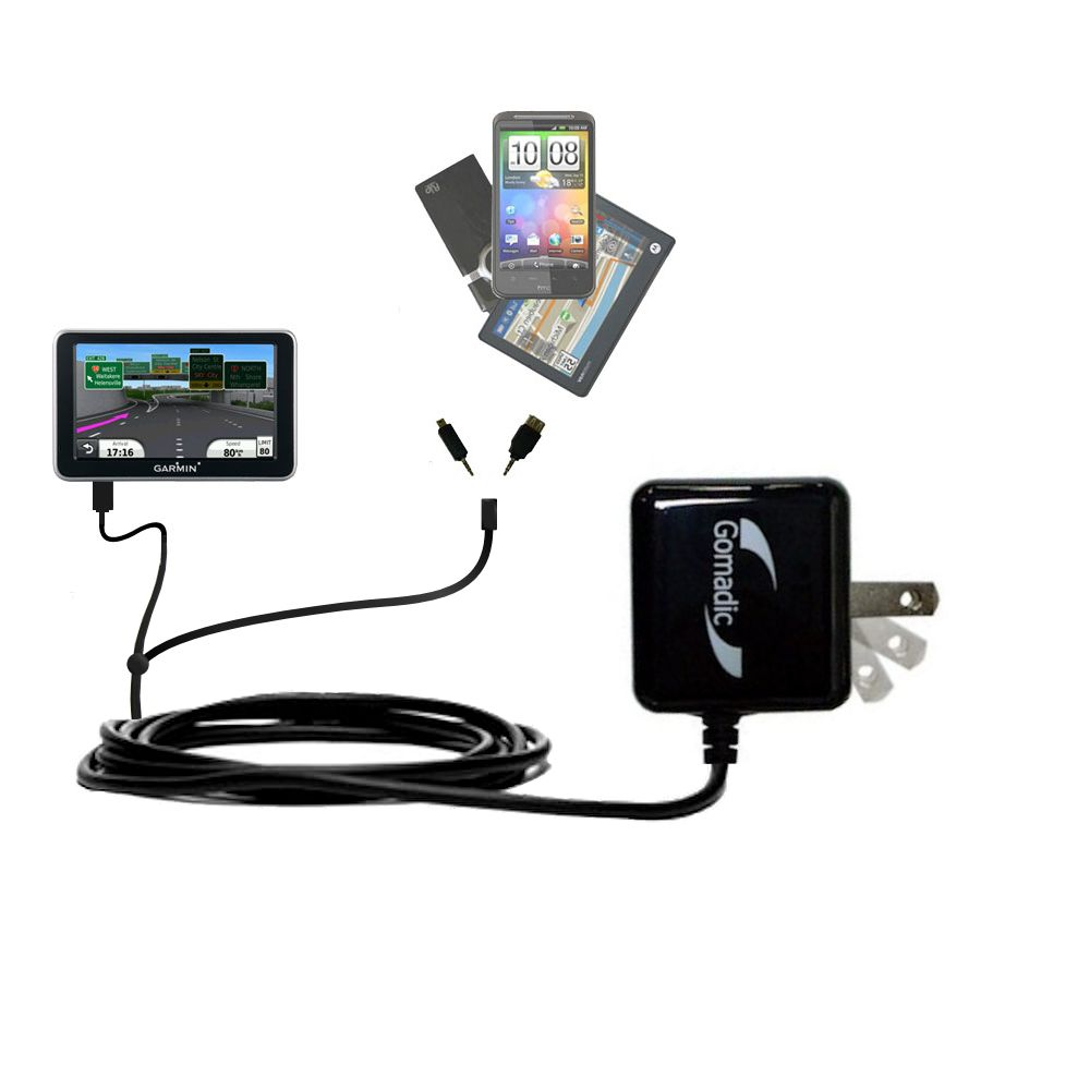 Gomadic Double Wall AC Home Charger suitable for the Garmin Nuvi 2350 - Charge up to 2 devices at the same time with TipExchange Technology