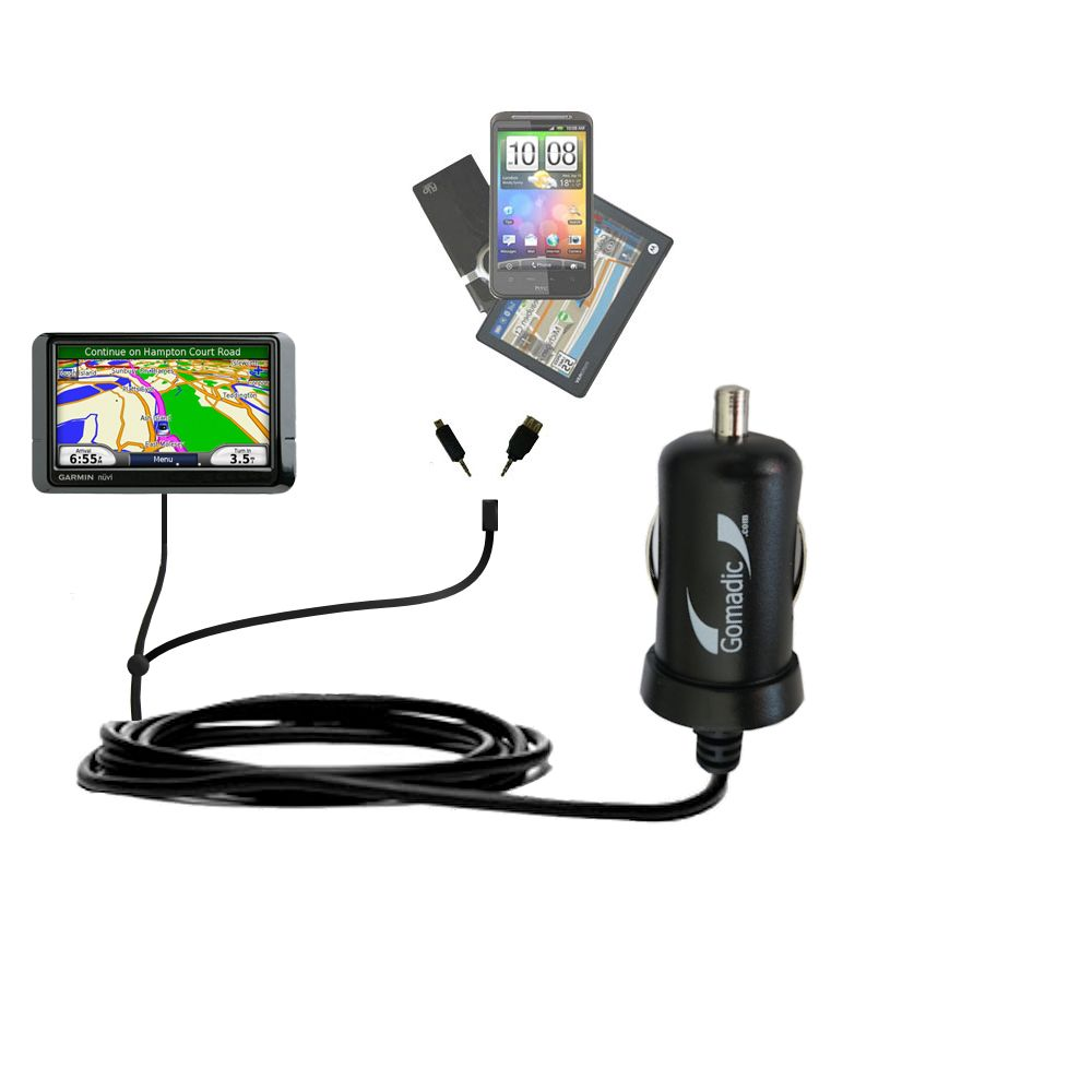Double Port Micro Gomadic Car / Auto DC Charger suitable for the Garmin Nuvi 255 - Charges up to 2 devices simultaneously with Gomadic TipExchange Technology