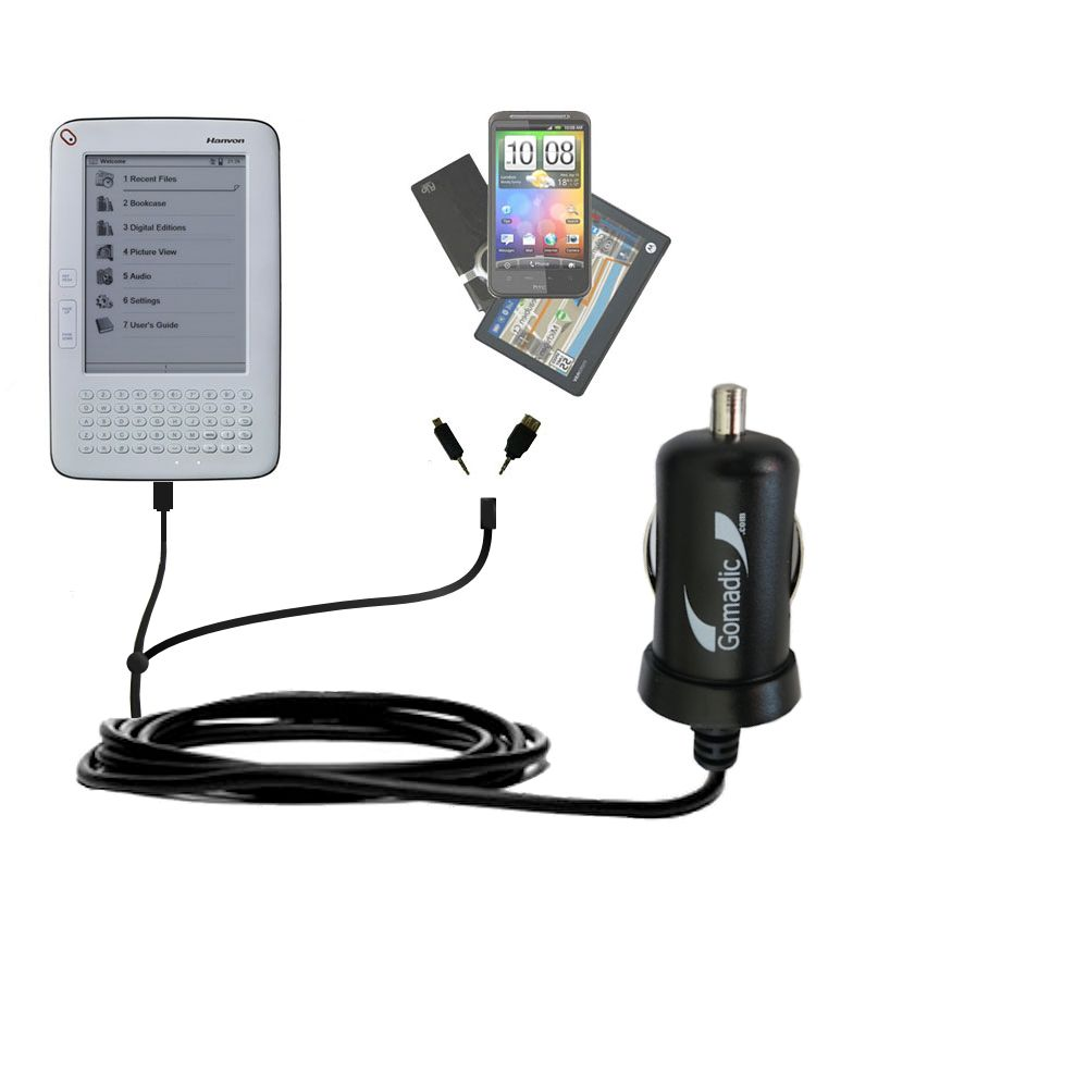 Double Port Micro Gomadic Car / Auto DC Charger suitable for the Hanvon WISEreader B630 - Charges up to 2 devices simultaneously with Gomadic TipExchange Technology