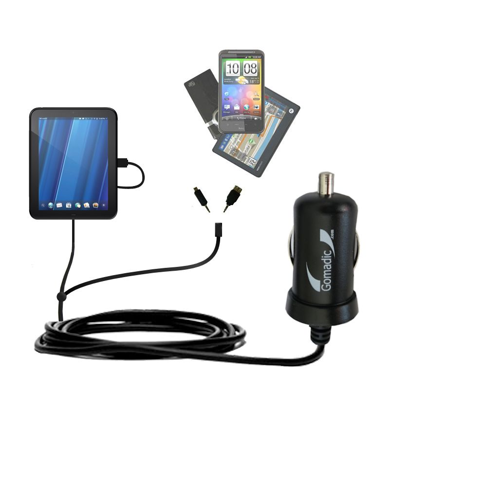 Double Port Micro Gomadic Car / Auto DC Charger suitable for the HP TouchPad - Charges up to 2 devices simultaneously with Gomadic TipExchange Technology