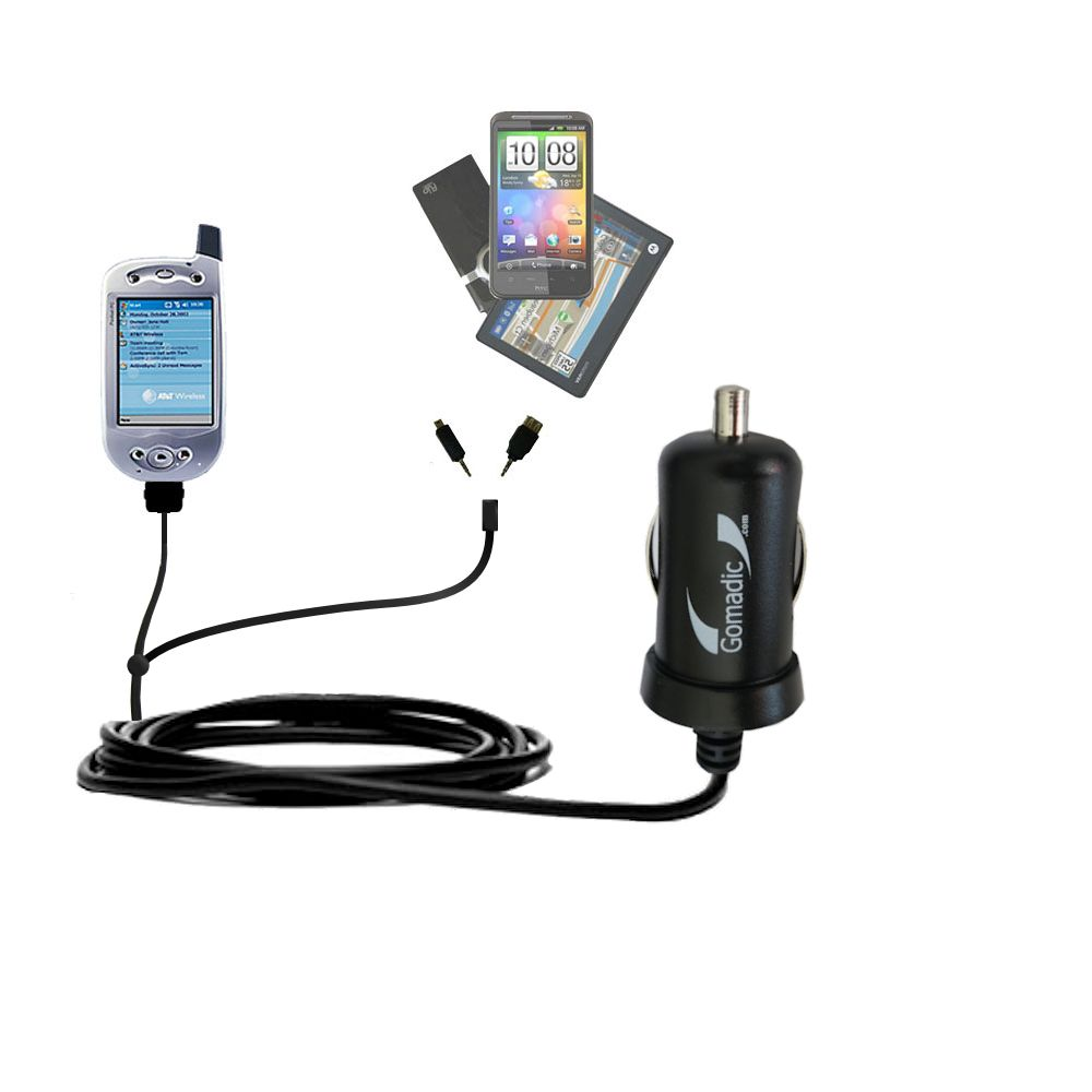 Double Port Micro Gomadic Car / Auto DC Charger suitable for the HTC Falcon Smartphone - Charges up to 2 devices simultaneously with Gomadic TipExchange Technology