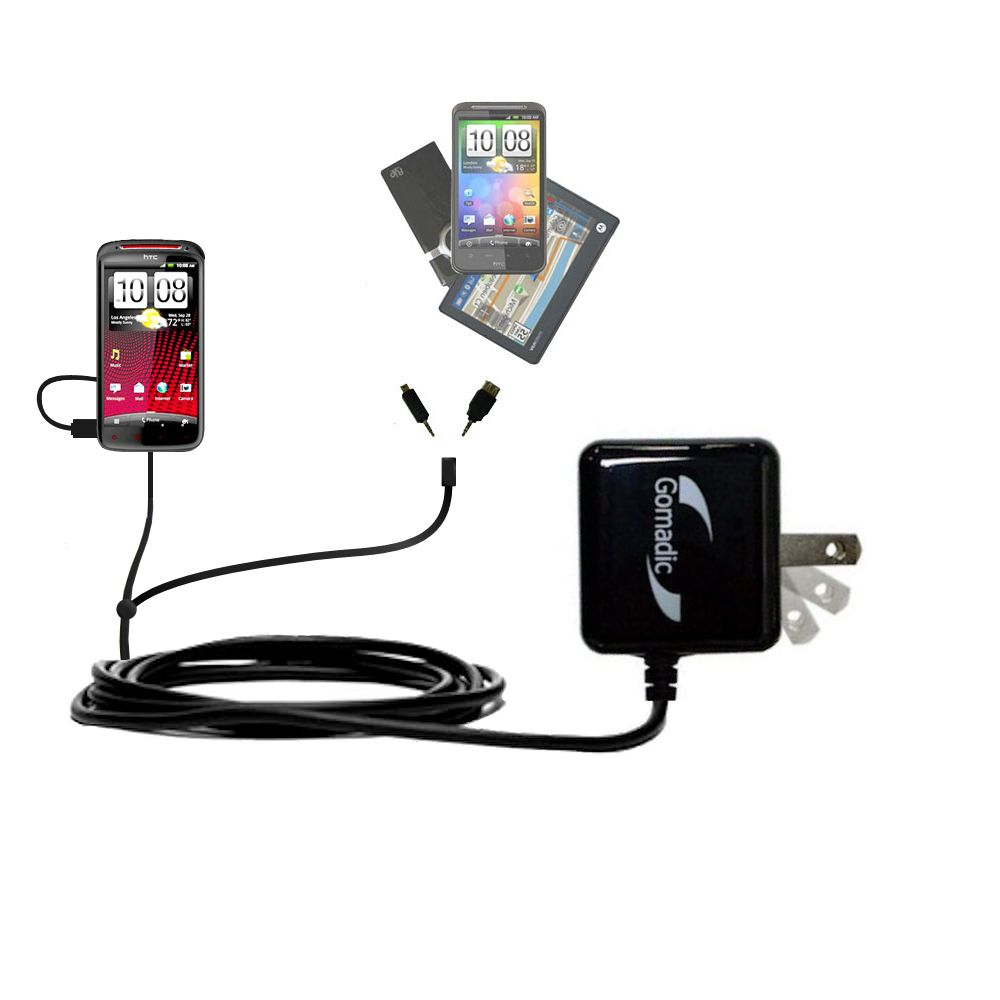 Gomadic Double Wall AC Home Charger suitable for the HTC Sensation XE - Charge up to 2 devices at the same time with TipExchange Technology