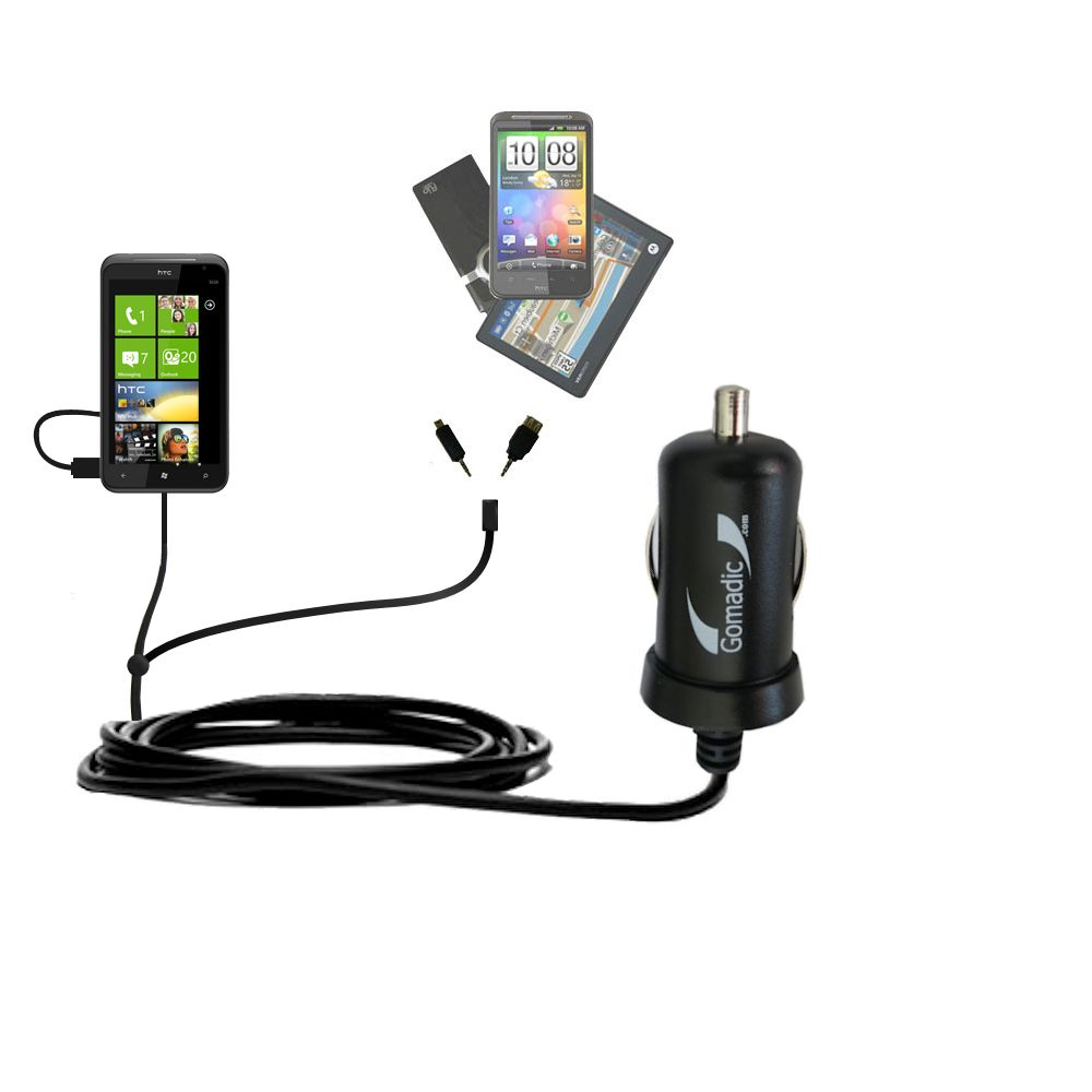 Double Port Micro Gomadic Car / Auto DC Charger suitable for the HTC Titan - Charges up to 2 devices simultaneously with Gomadic TipExchange Technology