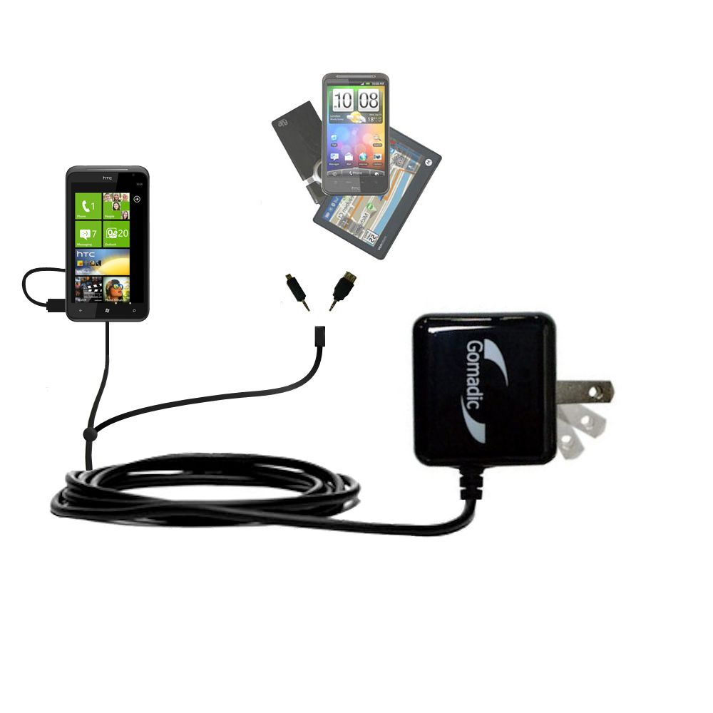 Gomadic Double Wall AC Home Charger suitable for the HTC Titan - Charge up to 2 devices at the same time with TipExchange Technology