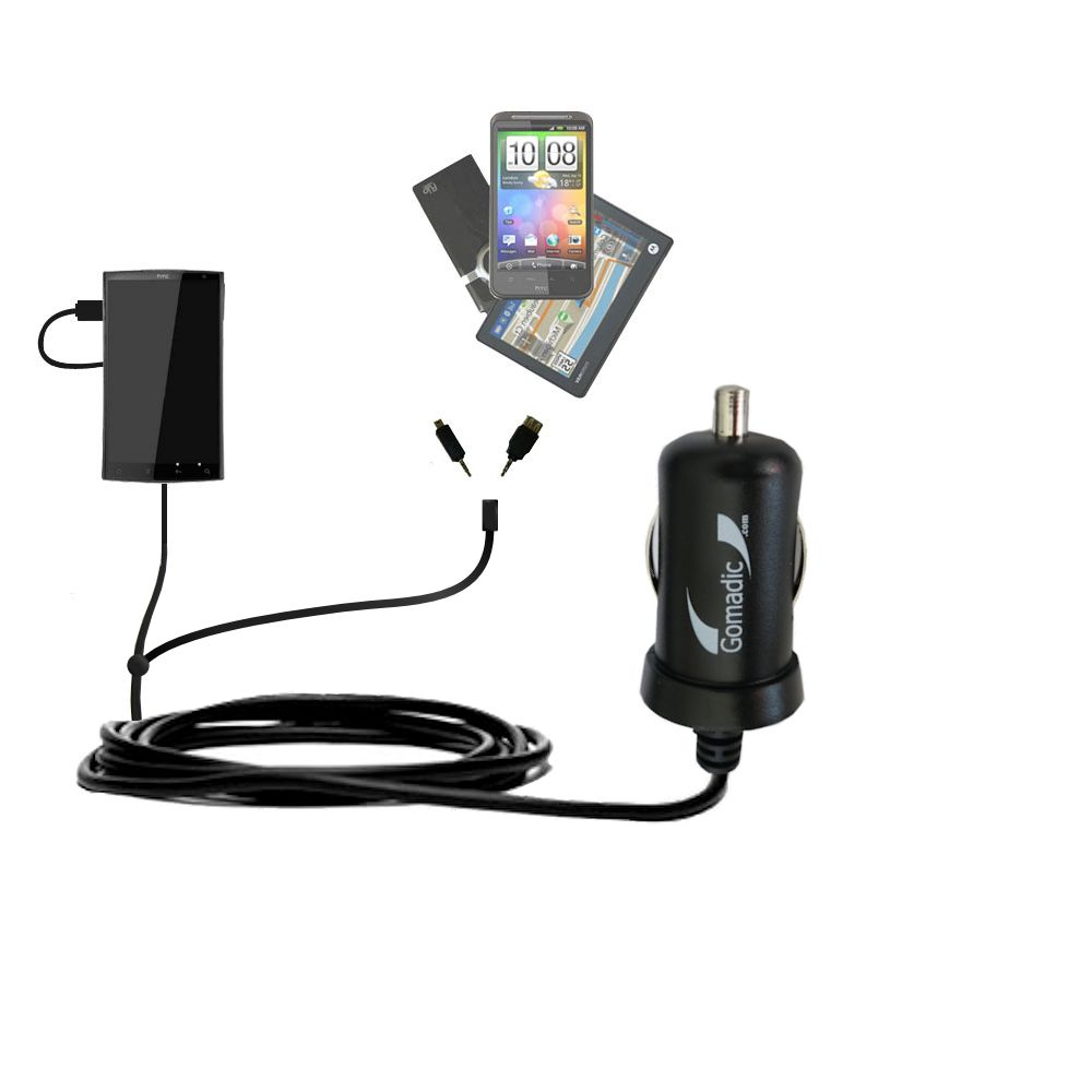 Double Port Micro Gomadic Car / Auto DC Charger suitable for the HTC Zeta - Charges up to 2 devices simultaneously with Gomadic TipExchange Technology