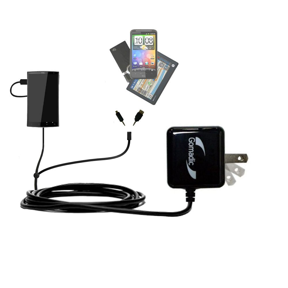 Gomadic Double Wall AC Home Charger suitable for the HTC Zeta - Charge up to 2 devices at the same time with TipExchange Technology