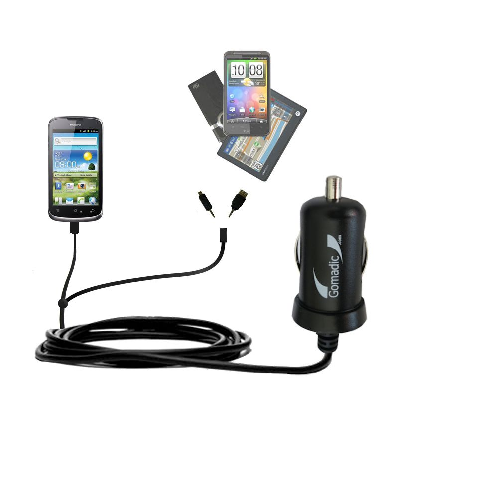 Double Port Micro Gomadic Car / Auto DC Charger suitable for the Huawei U8815 - Charges up to 2 devices simultaneously with Gomadic TipExchange Technology