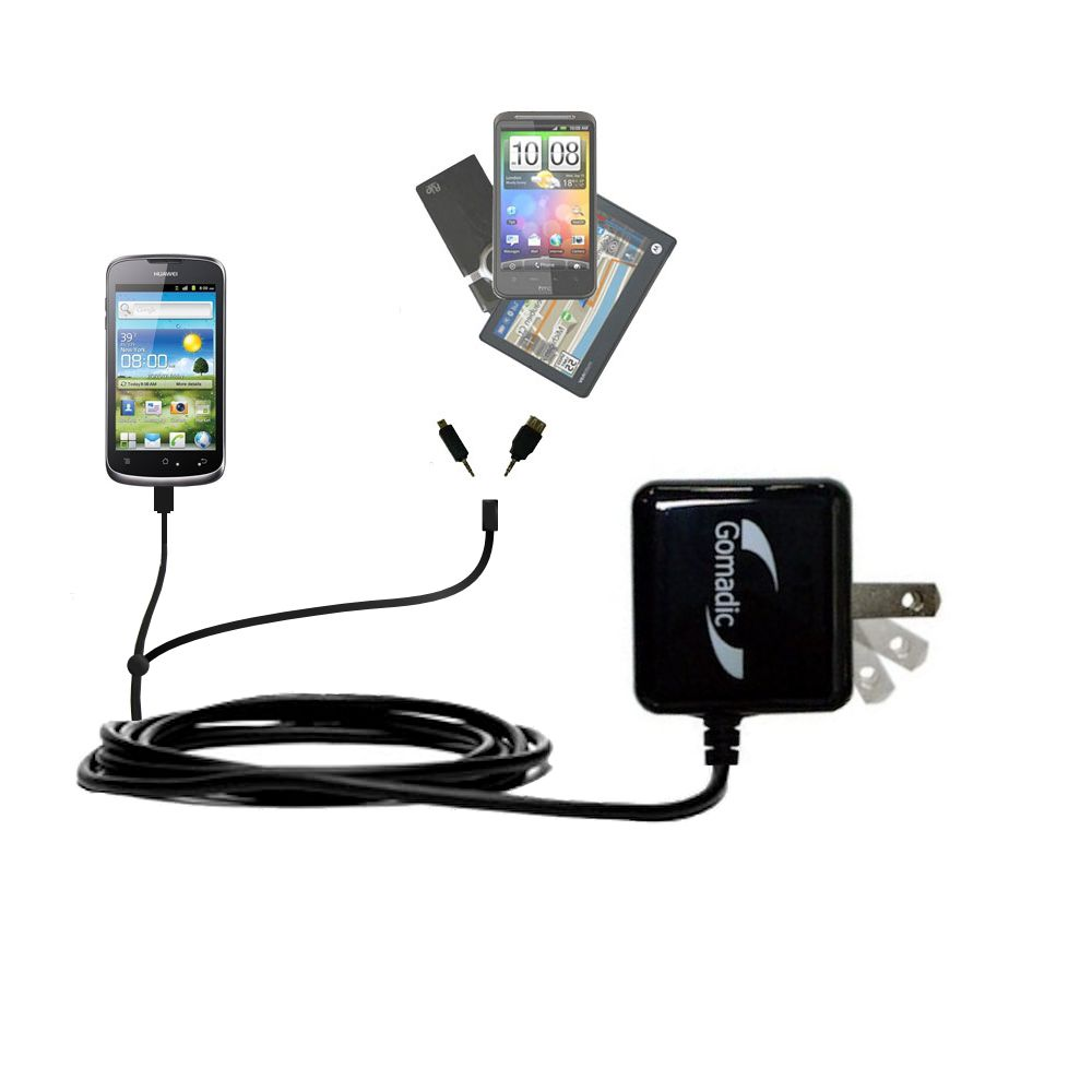 Gomadic Double Wall AC Home Charger suitable for the Huawei U8815 - Charge up to 2 devices at the same time with TipExchange Technology