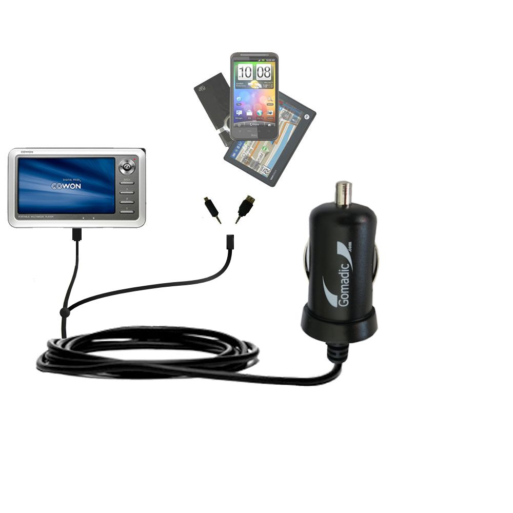 Double Port Micro Gomadic Car / Auto DC Charger suitable for the Cowon iAudio A2 Portable Media Player - Charges up to 2 devices simultaneously with Gomadic TipExchange Technology