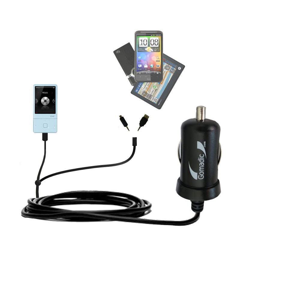mini Double Car Charger with tips including compatible with the iRiver E300