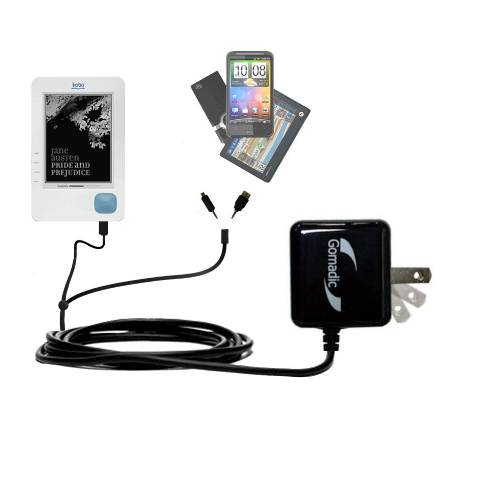 Gomadic Double Wall AC Home Charger suitable for the Kobo eReader - Charge up to 2 devices at the same time with TipExchange Technology