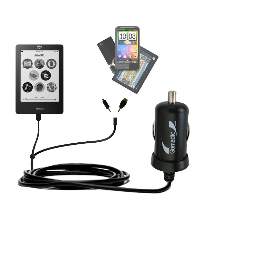 Double Port Micro Gomadic Car / Auto DC Charger suitable for the Kobo eReader Touch - Charges up to 2 devices simultaneously with Gomadic TipExchange Technology