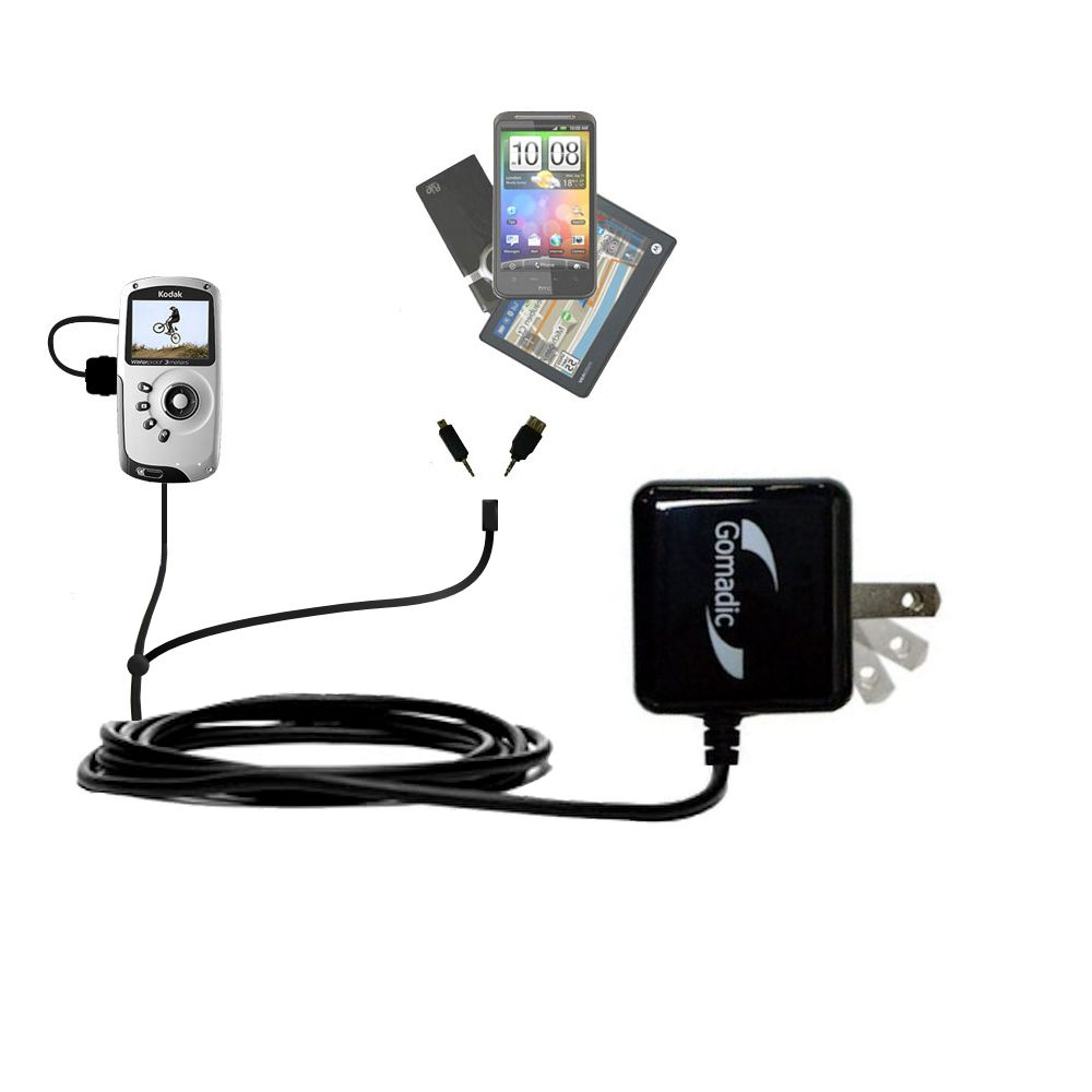 Double Wall Home Charger with tips including compatible with the Kodak PlaySport Pocket Video Camera