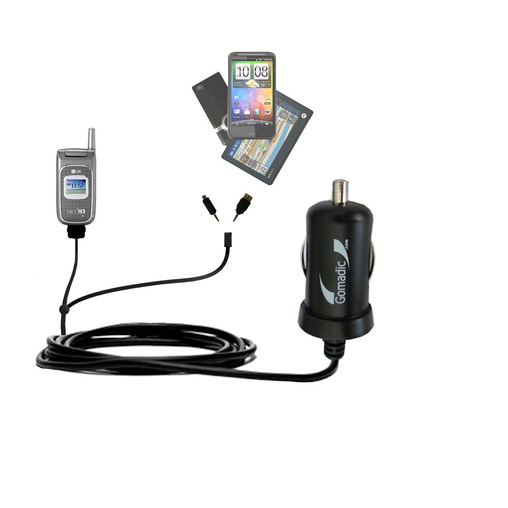 Double Port Micro Gomadic Car / Auto DC Charger suitable for the LG 1500 - Charges up to 2 devices simultaneously with Gomadic TipExchange Technology