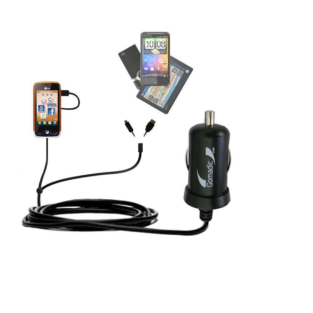 Double Port Micro Gomadic Car / Auto DC Charger suitable for the LG Cookie Fresh (GS290) - Charges up to 2 devices simultaneously with Gomadic TipExchange Technology