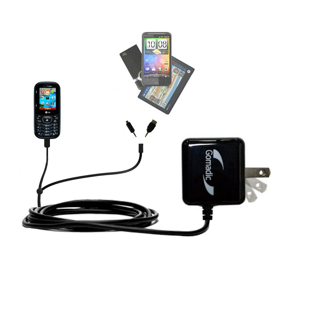 Gomadic Double Wall AC Home Charger suitable for the LG Scoop - Charge up to 2 devices at the same time with TipExchange Technology
