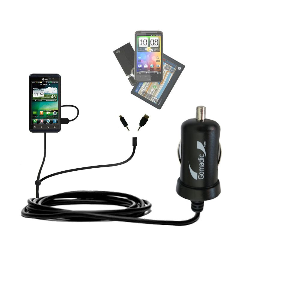 Double Port Micro Gomadic Car / Auto DC Charger suitable for the LG Thrill 4G - Charges up to 2 devices simultaneously with Gomadic TipExchange Technology