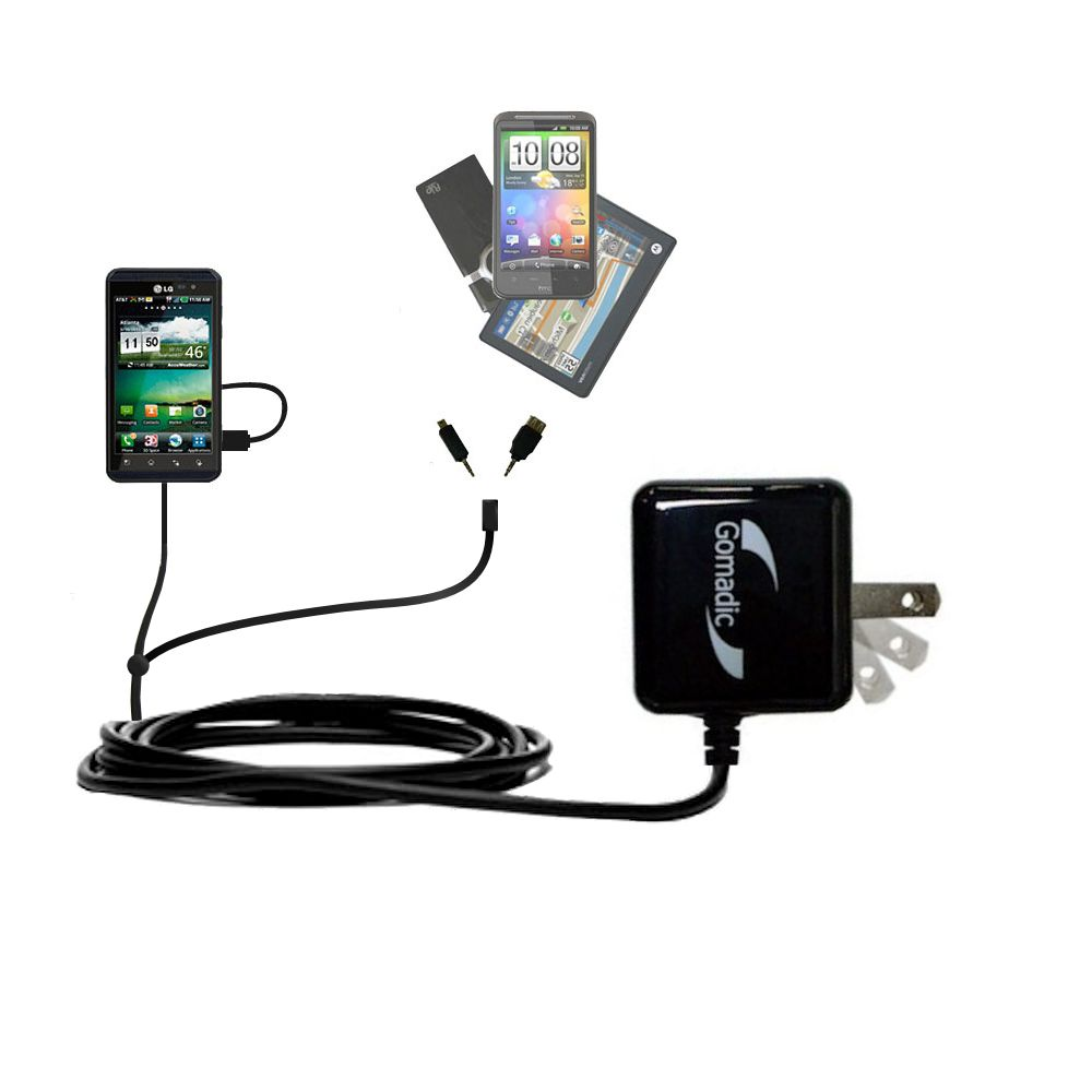 Gomadic Double Wall AC Home Charger suitable for the LG Thrill 4G - Charge up to 2 devices at the same time with TipExchange Technology