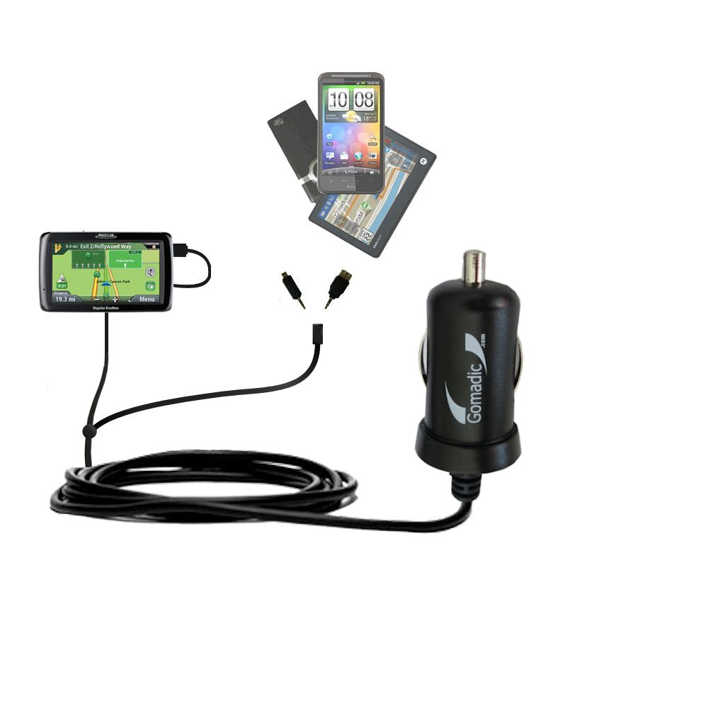 Double Port Micro Gomadic Car / Auto DC Charger suitable for the Magellan Maestro 4250 - Charges up to 2 devices simultaneously with Gomadic TipExchange Technology