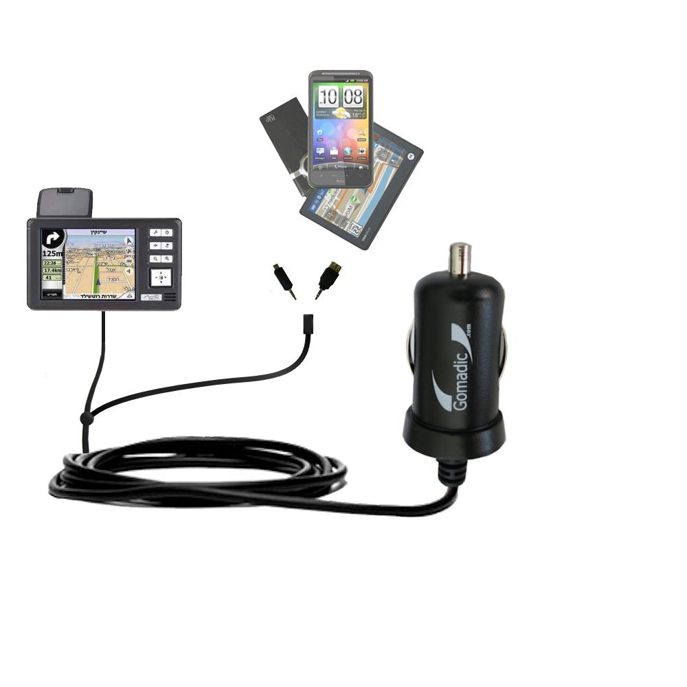 Double Port Micro Gomadic Car / Auto DC Charger suitable for the Mio 169 - Charges up to 2 devices simultaneously with Gomadic TipExchange Technology