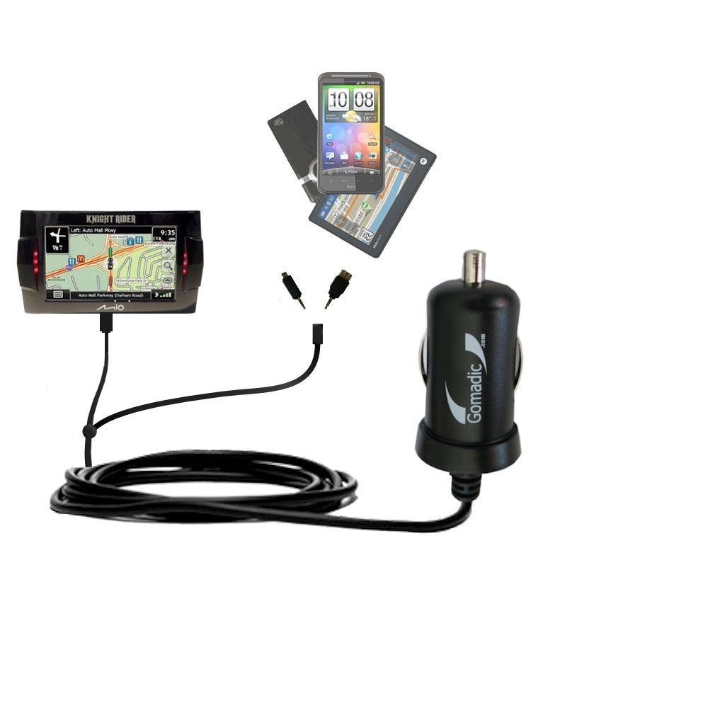 Double Port Micro Gomadic Car / Auto DC Charger suitable for the Mio Knight Rider - Charges up to 2 devices simultaneously with Gomadic TipExchange Technology