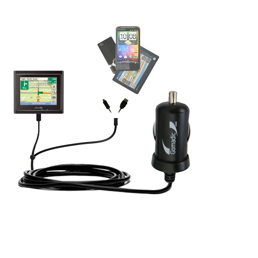 Double Port Micro Gomadic Car / Auto DC Charger suitable for the Mio Moov 200 210 - Charges up to 2 devices simultaneously with Gomadic TipExchange Technology