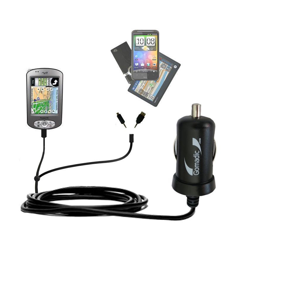 Double Port Micro Gomadic Car / Auto DC Charger suitable for the Mio P550 - Charges up to 2 devices simultaneously with Gomadic TipExchange Technology