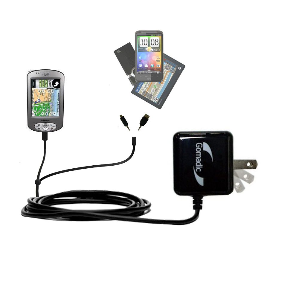 Gomadic Double Wall AC Home Charger suitable for the Mio P550 - Charge up to 2 devices at the same time with TipExchange Technology