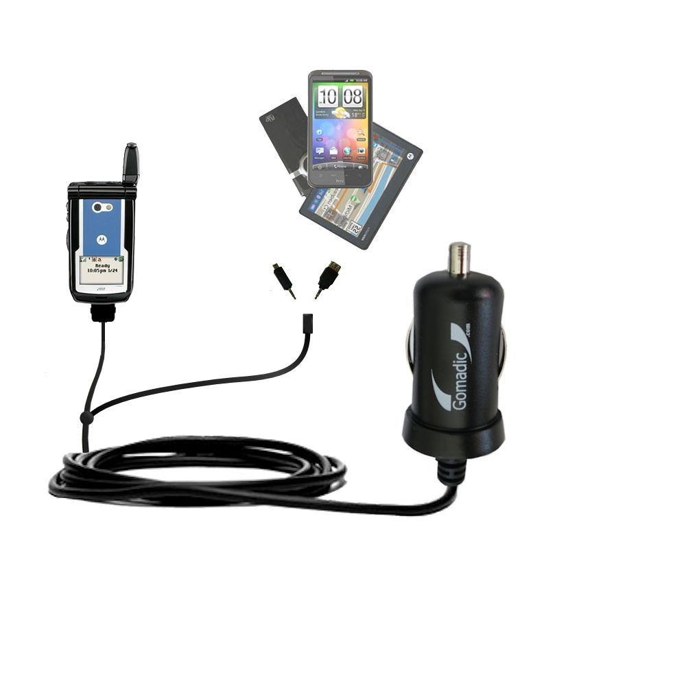 Double Port Micro Gomadic Car / Auto DC Charger suitable for the Motorola i860 - Charges up to 2 devices simultaneously with Gomadic TipExchange Technology