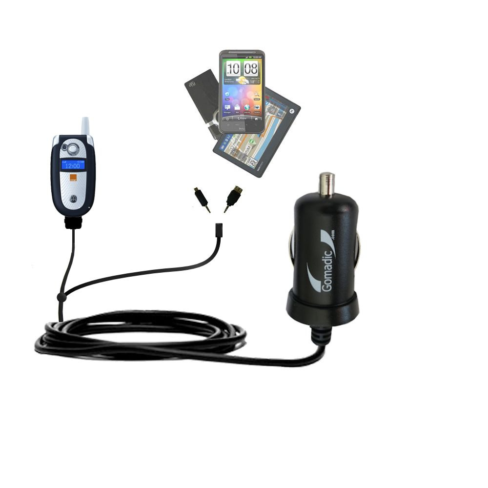 Double Port Micro Gomadic Car / Auto DC Charger suitable for the Motorola V545 - Charges up to 2 devices simultaneously with Gomadic TipExchange Technology