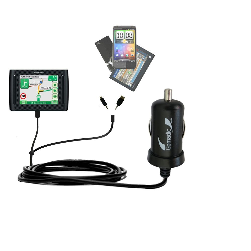 Double Port Micro Gomadic Car / Auto DC Charger suitable for the Navman F35 - Charges up to 2 devices simultaneously with Gomadic TipExchange Technology