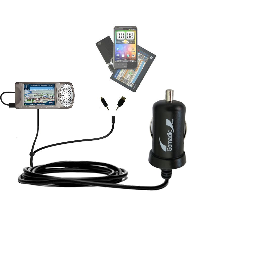 Double Port Micro Gomadic Car / Auto DC Charger suitable for the Navman iCN 650 - Charges up to 2 devices simultaneously with Gomadic TipExchange Technology