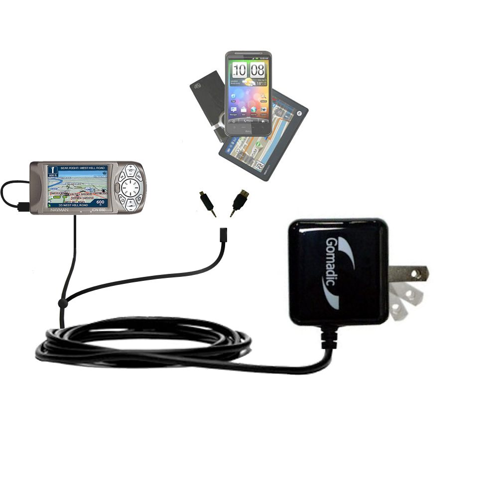 Gomadic Double Wall AC Home Charger suitable for the Navman iCN 650 - Charge up to 2 devices at the same time with TipExchange Technology