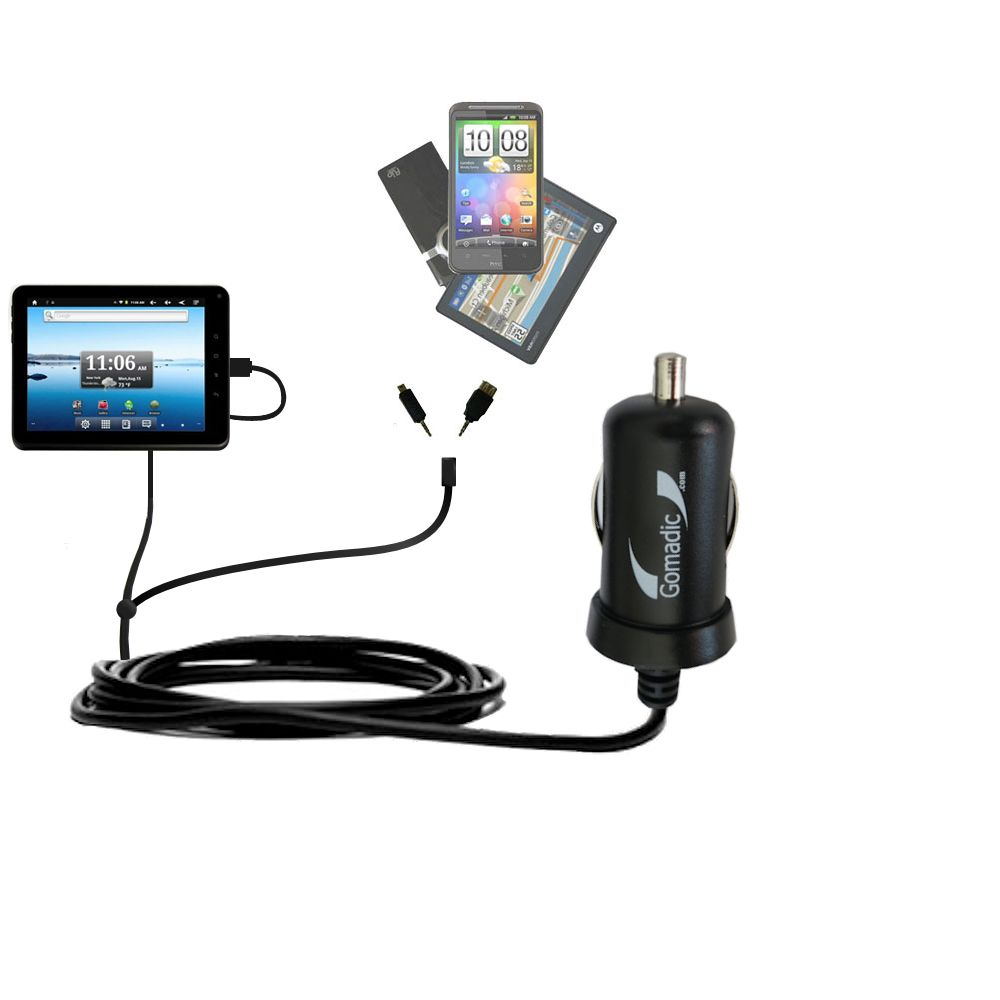Double Port Micro Gomadic Car / Auto DC Charger suitable for the Nextbook Premium8 Tablet - Charges up to 2 devices simultaneously with Gomadic TipExchange Technology