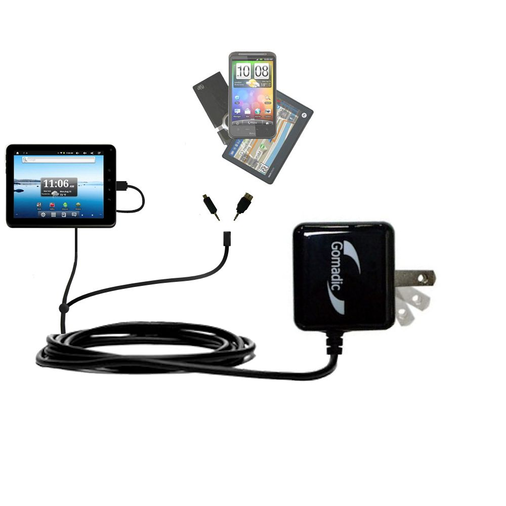 Gomadic Double Wall AC Home Charger suitable for the Nextbook Premium8 Tablet - Charge up to 2 devices at the same time with TipExchange Technology
